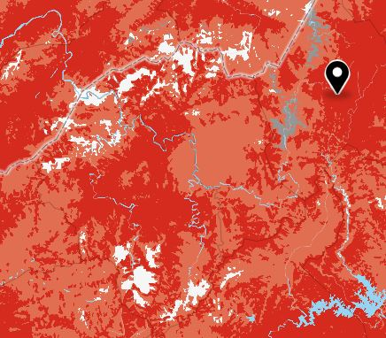 Verizon coverage map of the Smoky Mountains, dark red = 5g and light red = 4g white = no coverage