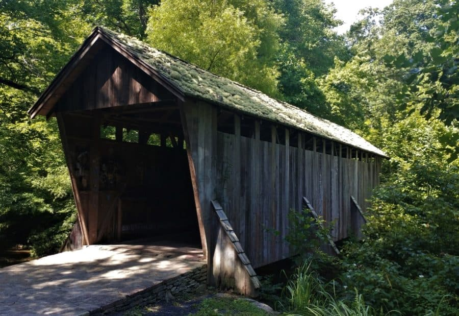 Pisgah Covered bridge in the Dog days of summer.