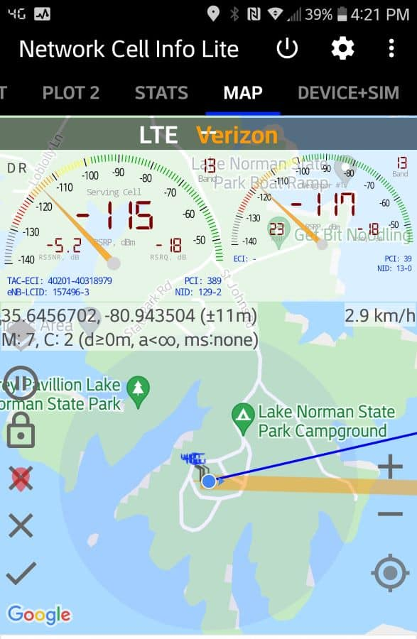 Lake Norman State Park Campground  Verizon Cell Tower Location
