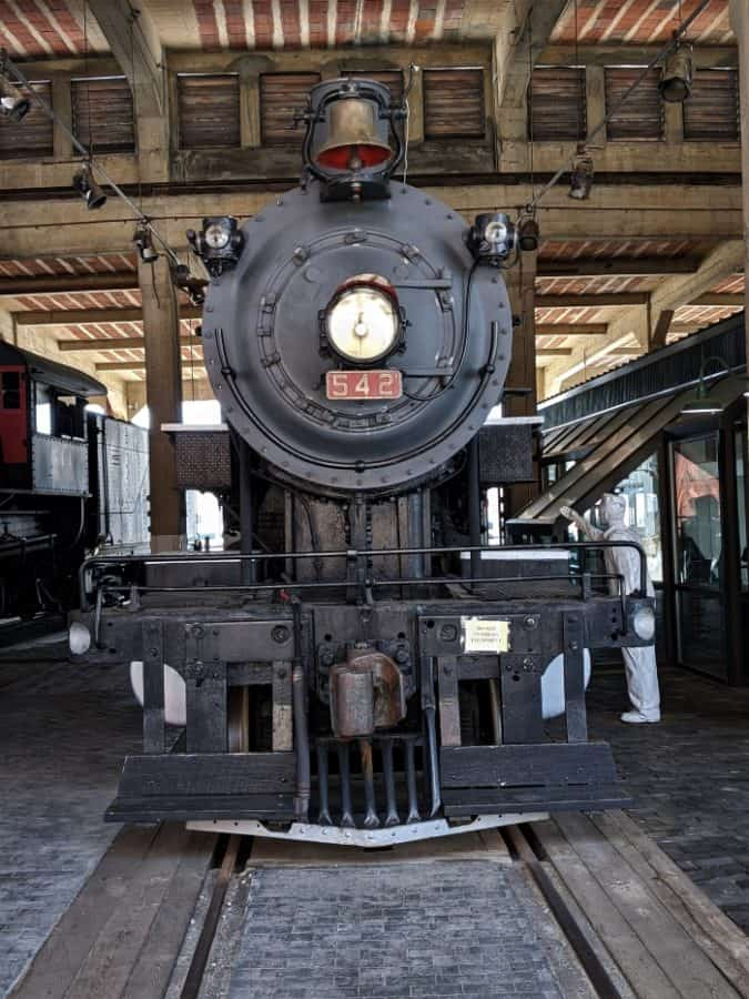 Steam Locomotive in the roundhouse at Spencer Shops.