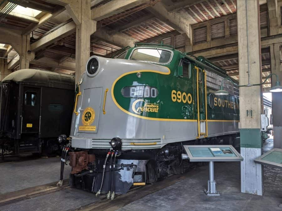 Diesel Locomotive in the roundhouse at Spencer Shops.