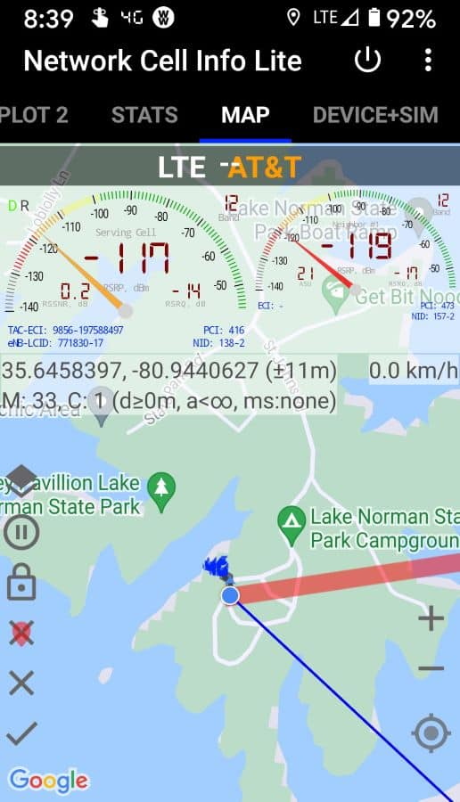 Lake Norman State Park Campground  AT&T Cell Tower Location