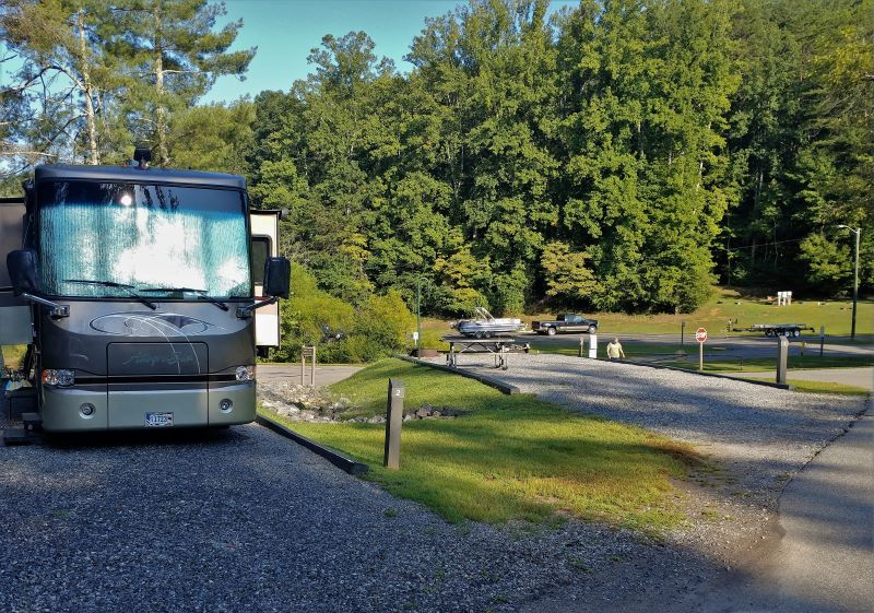 Our RV in site #2 with a good view of site #1