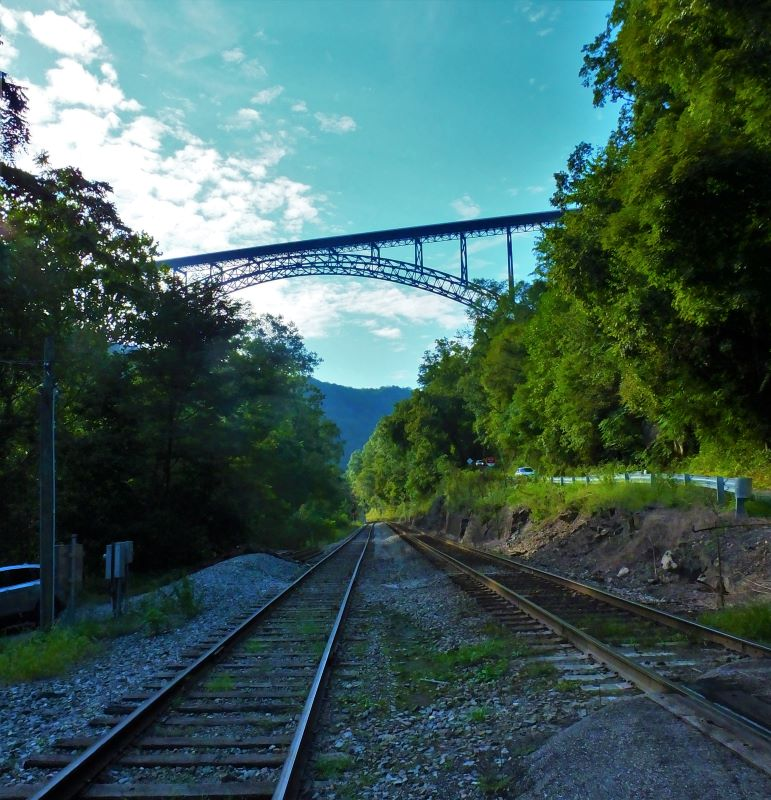 New River Gorge Bridge from the Train Tracks below the bridge.