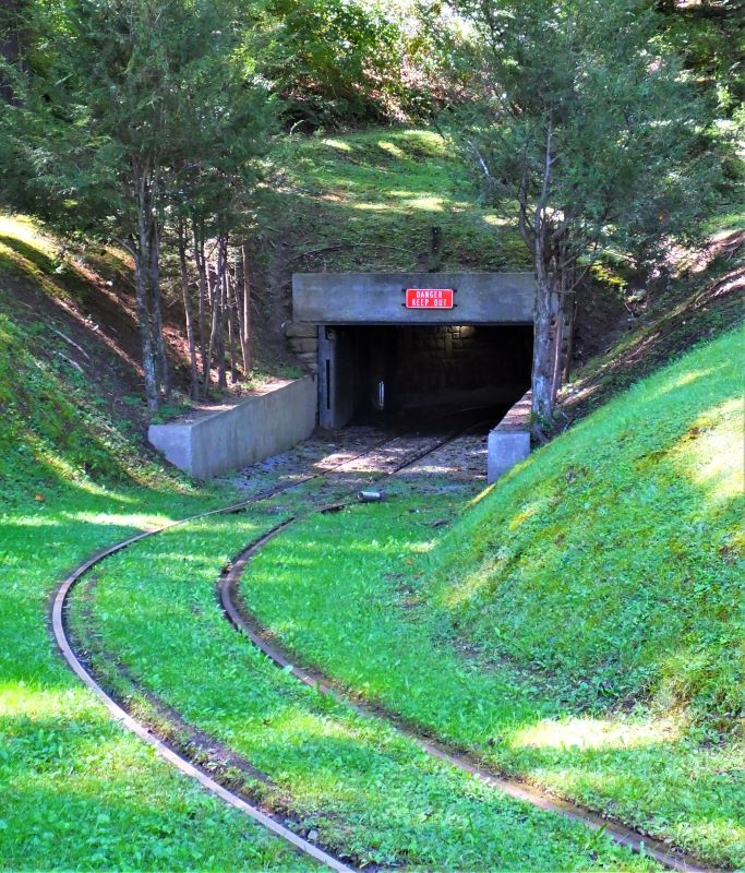 Rail cart entrance at the Beckley Mine Museum.